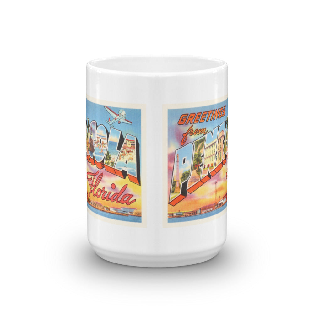 Mug – Pensacola FL Greetings From Florida Big Large Letter Postcard Retro Travel Gift Souvenir Coffee or Tea Cup - American Yesteryear