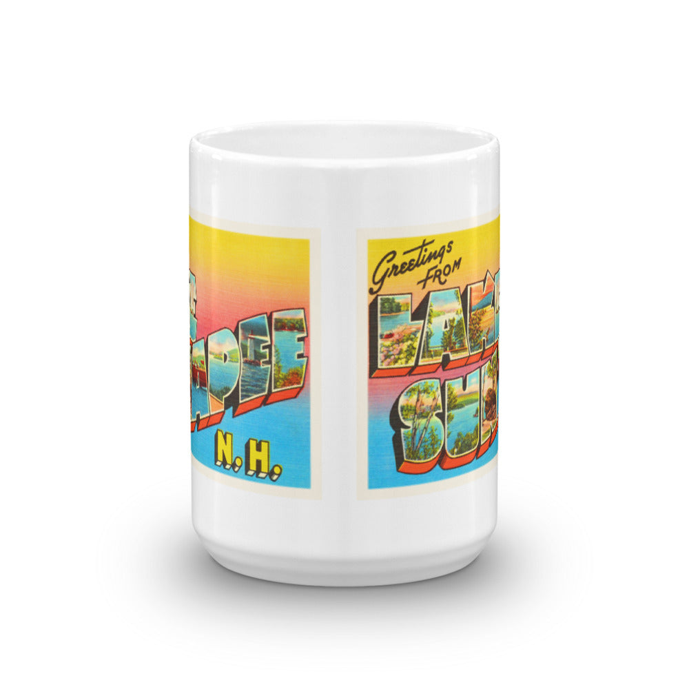 Mug – Lake Sunapee NH Greetings From New Hampshire Big Large Letter Postcard Retro Travel Gift Souvenir Coffee or Tea Cup - American Yesteryear