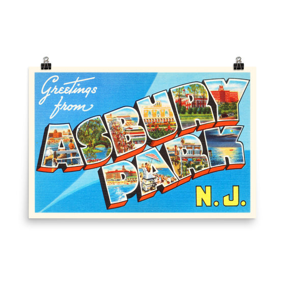 Poster Print - Asbury Park New Jersey NJ Big Large Letter Postcard Souvenir - American Yesteryear