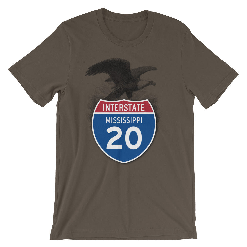 Mississippi MS I-20 Highway Interstate Shield Tshirt Tee - American Yesteryear