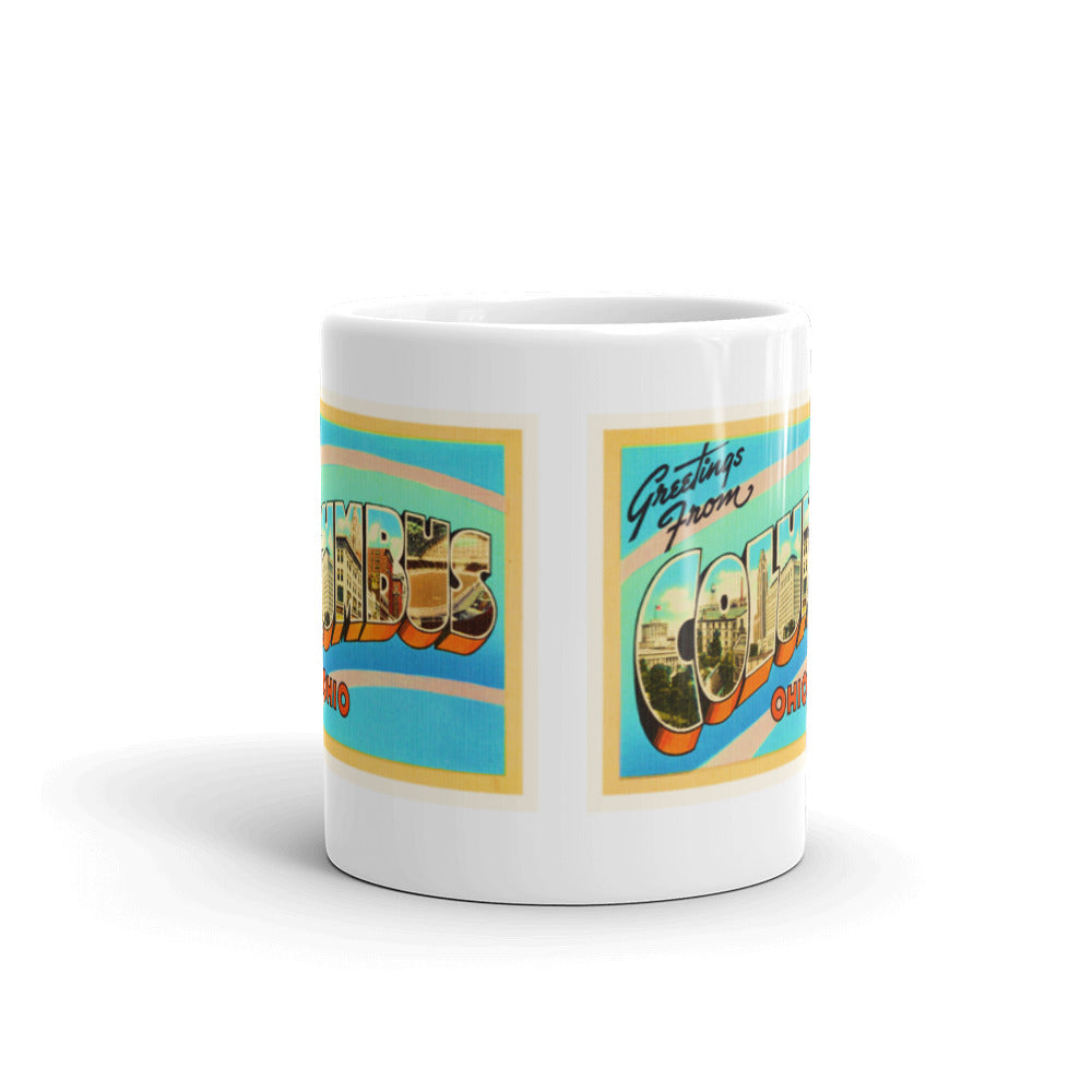 Mug – Columbus OH Greetings From Ohio Big Large Letter Postcard Retro Travel Gift Souvenir Coffee or Tea Cup - American Yesteryear