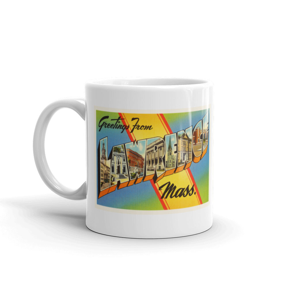 Mug – Lawrence MA Greetings From Massachusetts Big Large Letter Postcard Retro Travel Gift Souvenir Coffee or Tea Cup - American Yesteryear