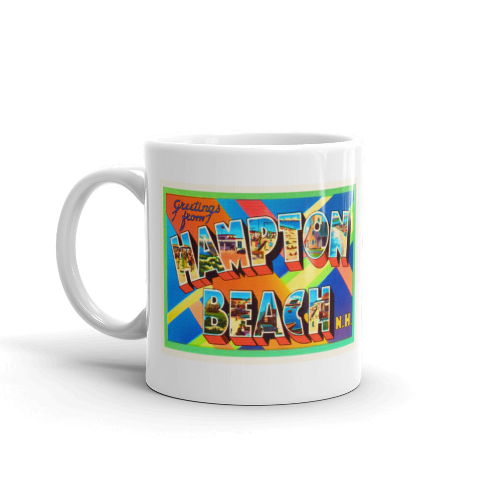 Mug – Hampton Beach NH #2 Greetings From New Hampshire Big Large Letter Postcard Retro Travel Gift Souvenir Coffee or Tea Cup - American Yesteryear