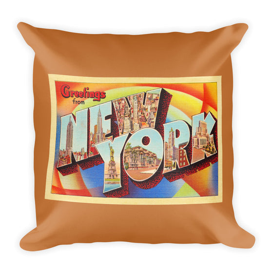 Throw Pillow - New York City NY Big Large Letter Postcard Souvenir - American Yesteryear
