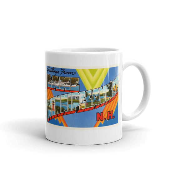 Mug – Winnipesaukee NH #2 Greetings From New Hampshire Big Large Letter Postcard Retro Travel Gift Souvenir Coffee or Tea Cup - American Yesteryear