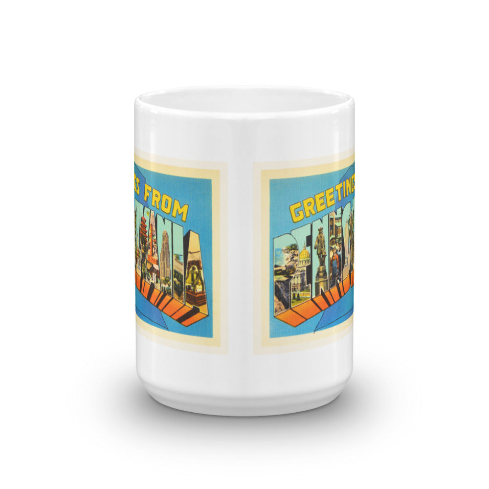 Mug – State of Pennsylvania Greetings From PA Big Large Letter Postcard Retro Travel Gift Souvenir Coffee or Tea Cup - American Yesteryear