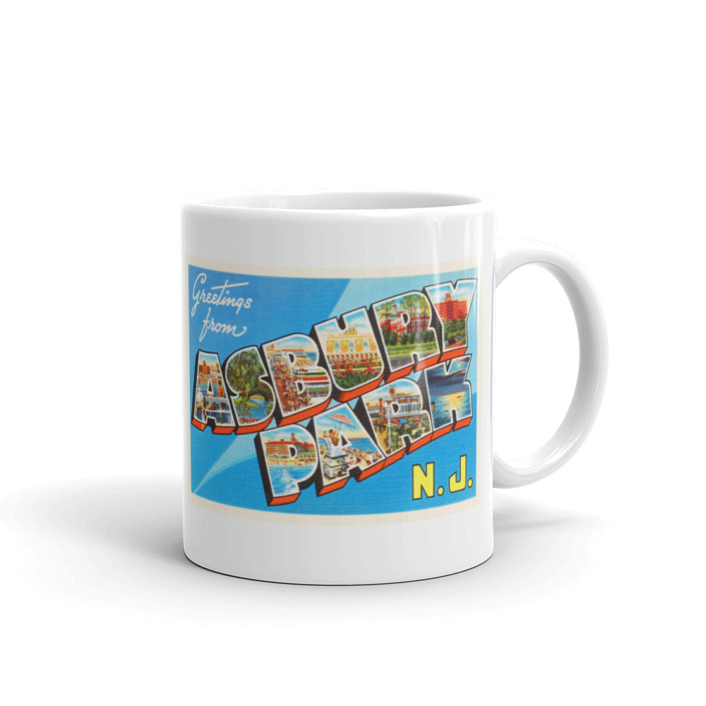 Mug – Asbury Park NJ Greetings From New Jersey Big Large Letter Postcard Retro Travel Souvenir Coffee or Tea Cup - American Yesteryear