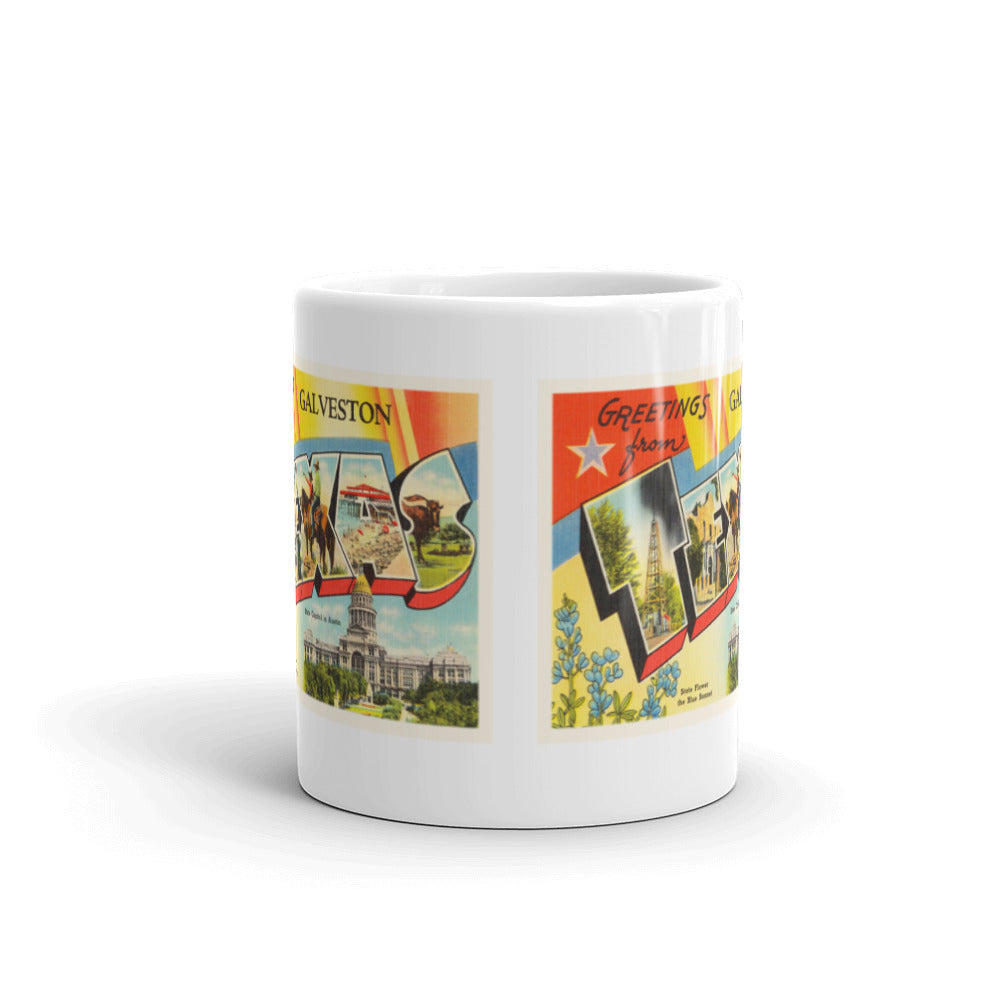 Mug – Galveston TX Greetings From Texas Big Large Letter Postcard Retro Travel Gift Souvenir Coffee or Tea Cup - American Yesteryear