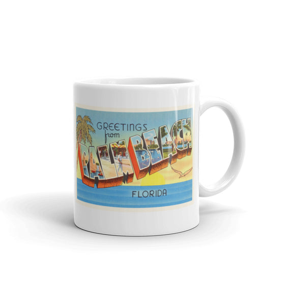 Mug – Palm Beach FL Greetings From Florida Big Large Letter Postcard Retro Travel Gift Souvenir Coffee or Tea Cup - American Yesteryear