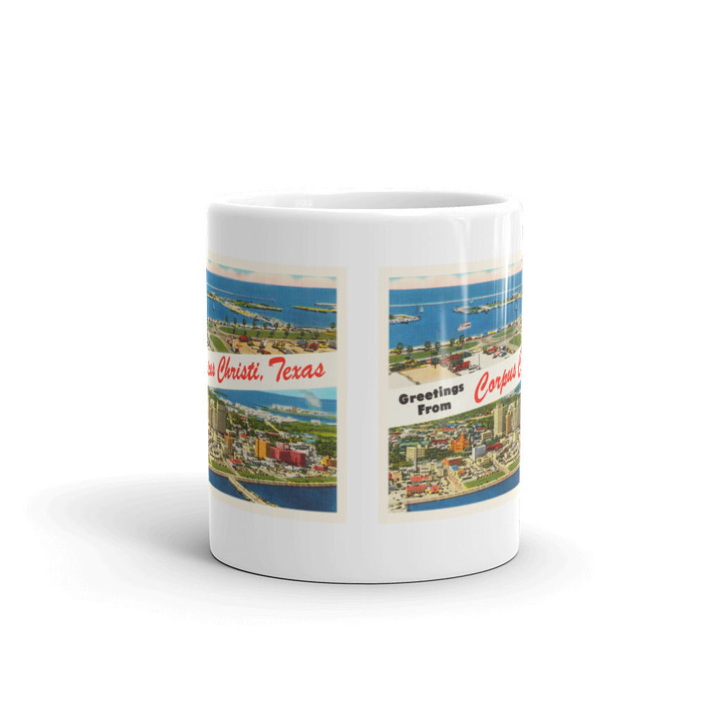 Mug – Corpus Christi TX Greetings From Texas Big Large Letter Postcard Retro Travel Gift Souvenir Coffee or Tea Cup - American Yesteryear