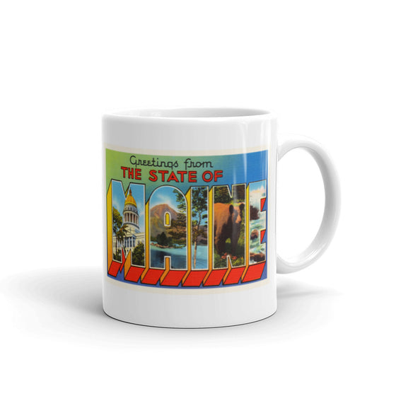 Mug – State of Maine #2 Greetings From ME Big Large Letter Postcard Retro Travel Gift Souvenir Coffee or Tea Cup