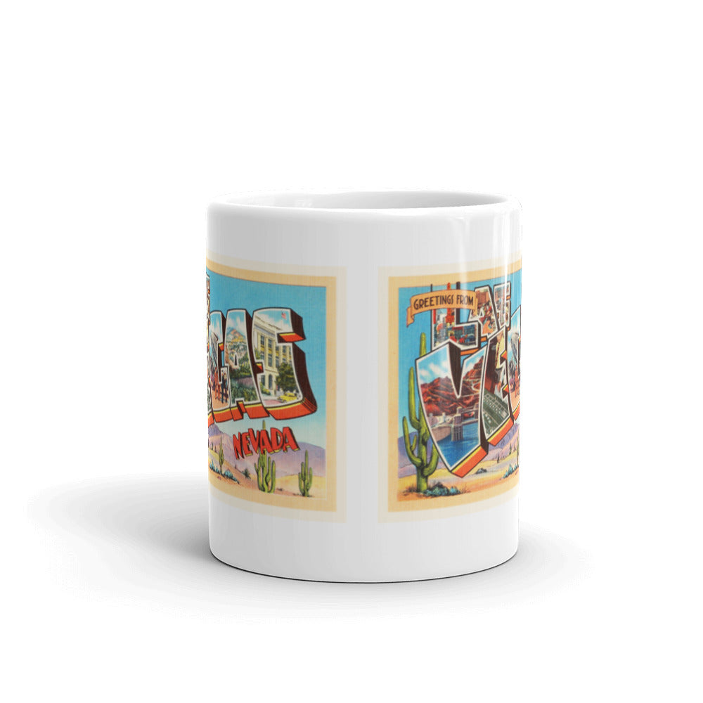 Mug – Las Vegas NV Greetings From Nevada Big Large Letter Postcard Retro Travel Gift Souvenir Coffee or Tea Cup - American Yesteryear