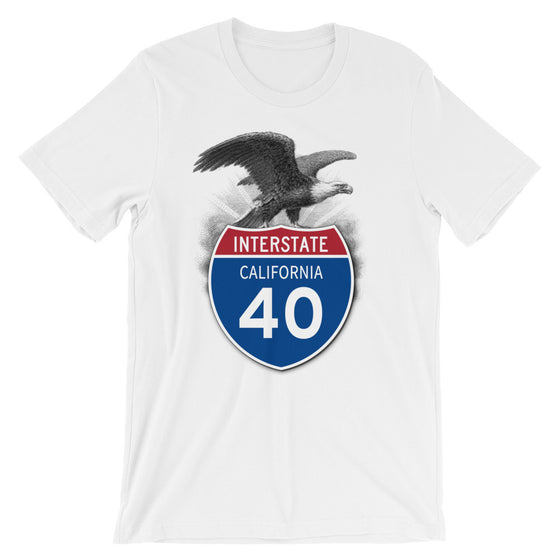 California CA I-40 Highway Interstate Shield TShirt Tee - American Yesteryear