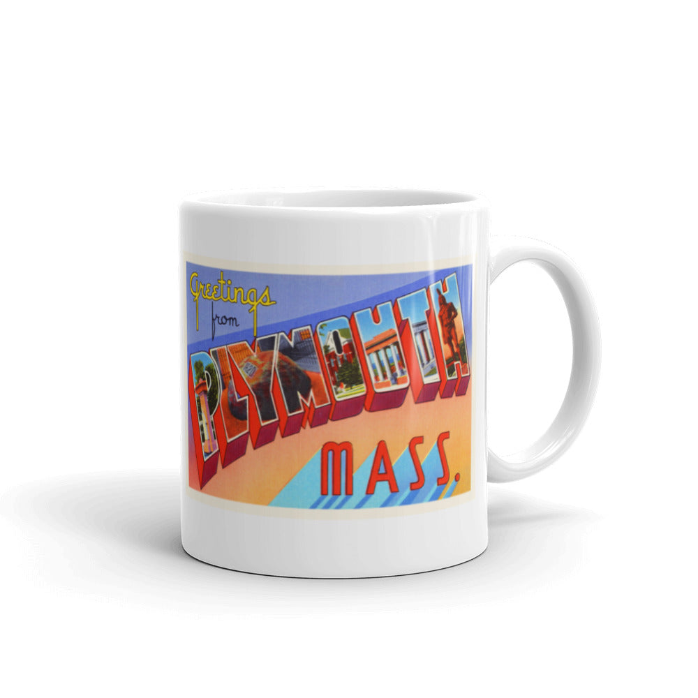Mug – Plymouth MA Greetings From Massachusetts Big Large Letter Postcard Retro Travel Gift Souvenir Coffee or Tea Cup - American Yesteryear