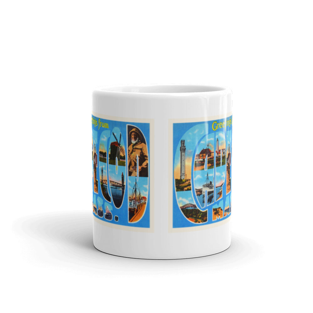 Mug – Cape Cod MA Greetings From Massachusetts Big Large Letter Postcard Retro Travel Gift Souvenir Coffee or Tea Cup - American Yesteryear