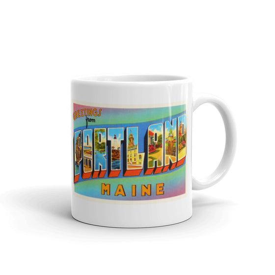 Mug – Portland ME Greetings From Maine Big Large Letter Postcard Retro Travel Gift Souvenir Coffee or Tea Cup