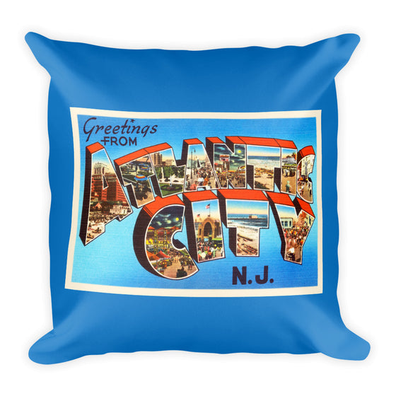 Throw Pillow - Atlantic City New Jersey NJ Big Large Letter Postcard Souvenir