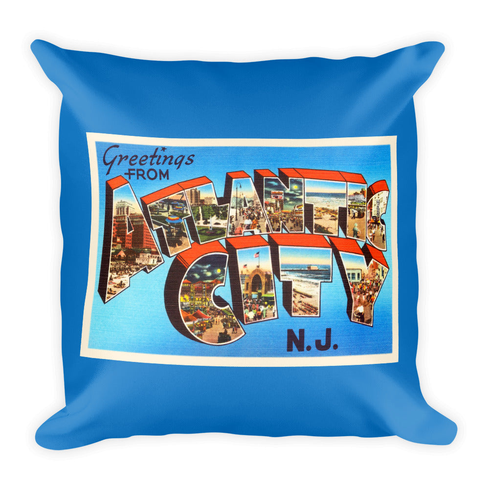 Throw Pillow - Atlantic City New Jersey NJ Big Large Letter Postcard Souvenir - American Yesteryear