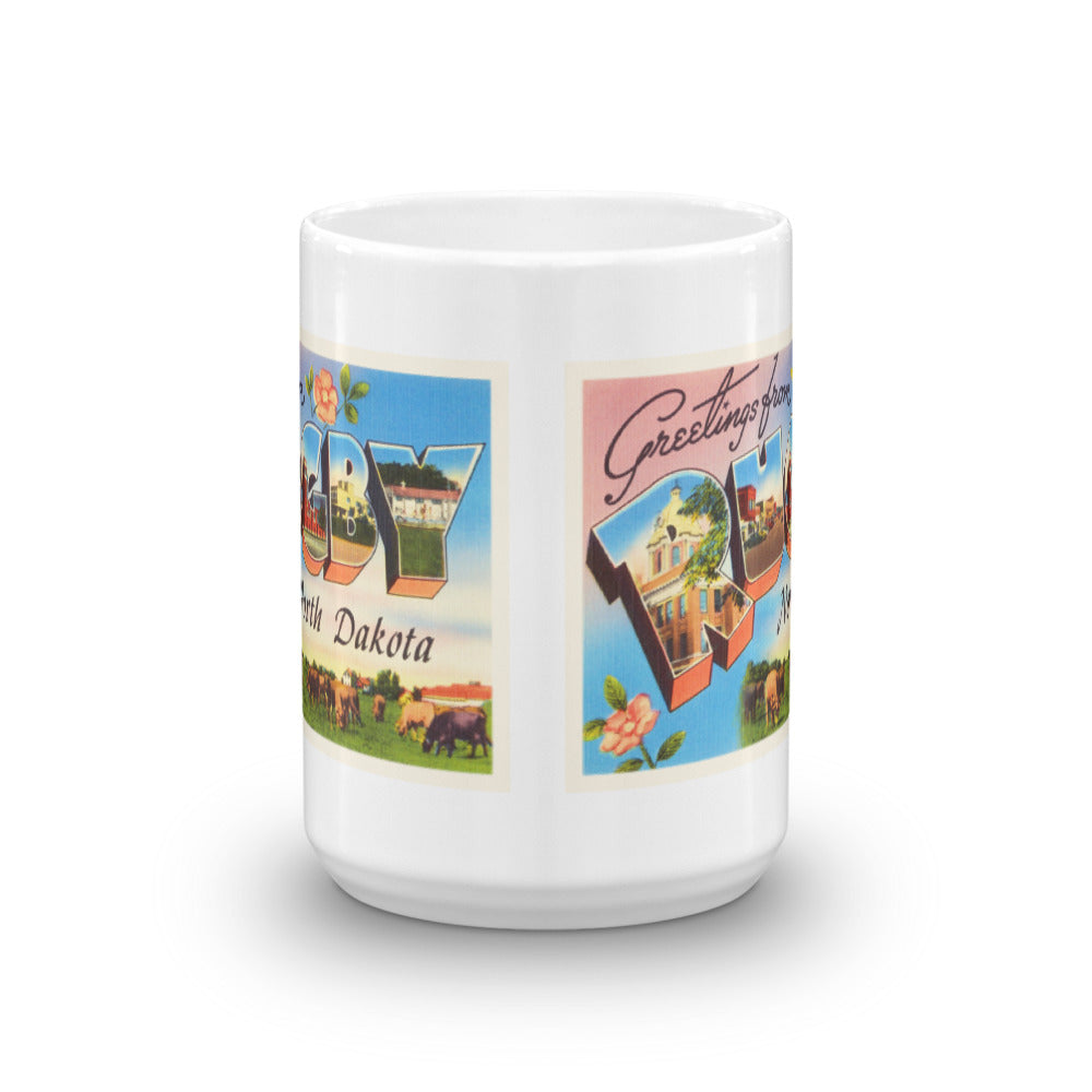 Mug – Rugby ND Greetings From North Dakota Big Large Letter Postcard Retro Travel Gift Souvenir Coffee or Tea Cup - American Yesteryear