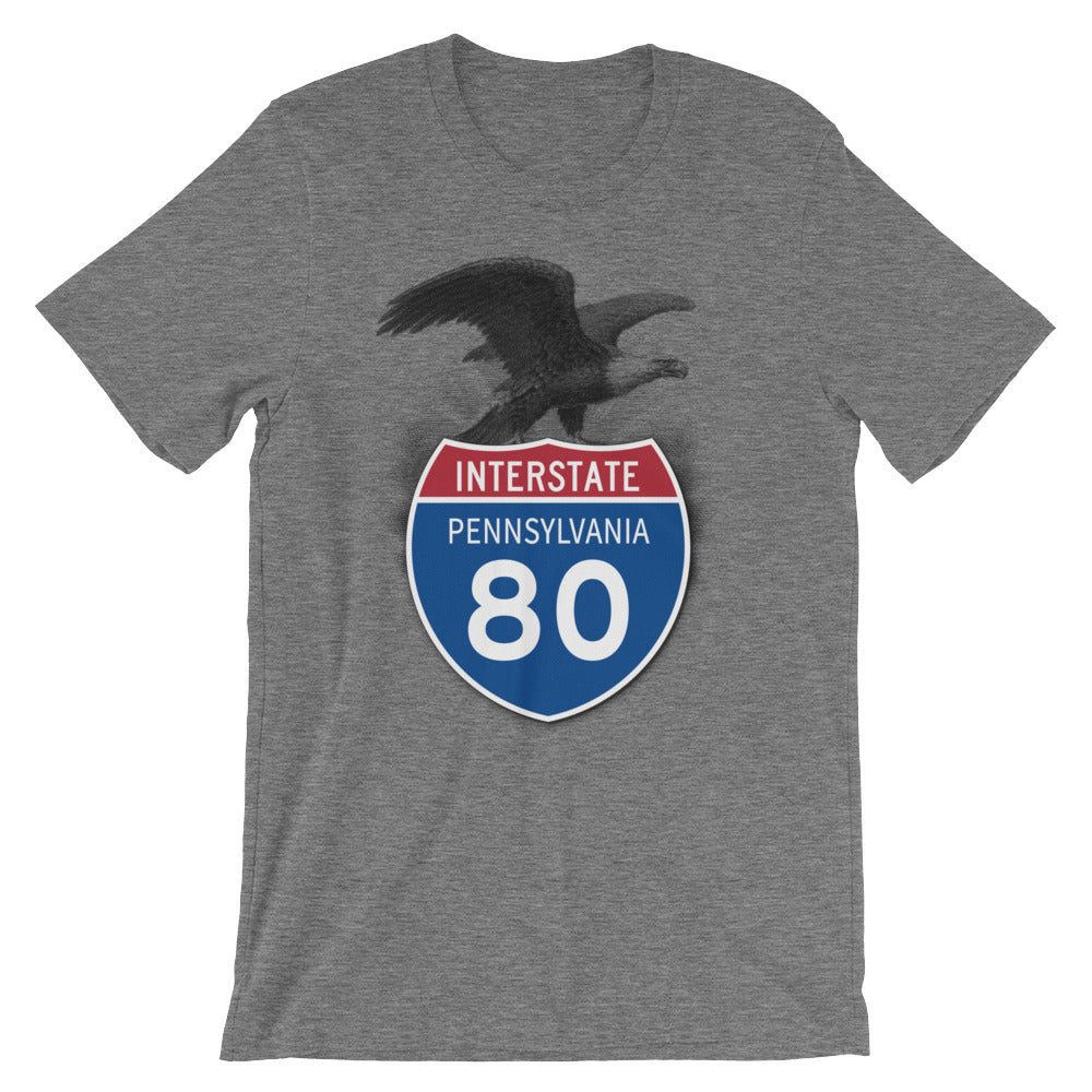 Pennsylvania PA I-80 Highway Interstate Shield TShirt Tee - American Yesteryear