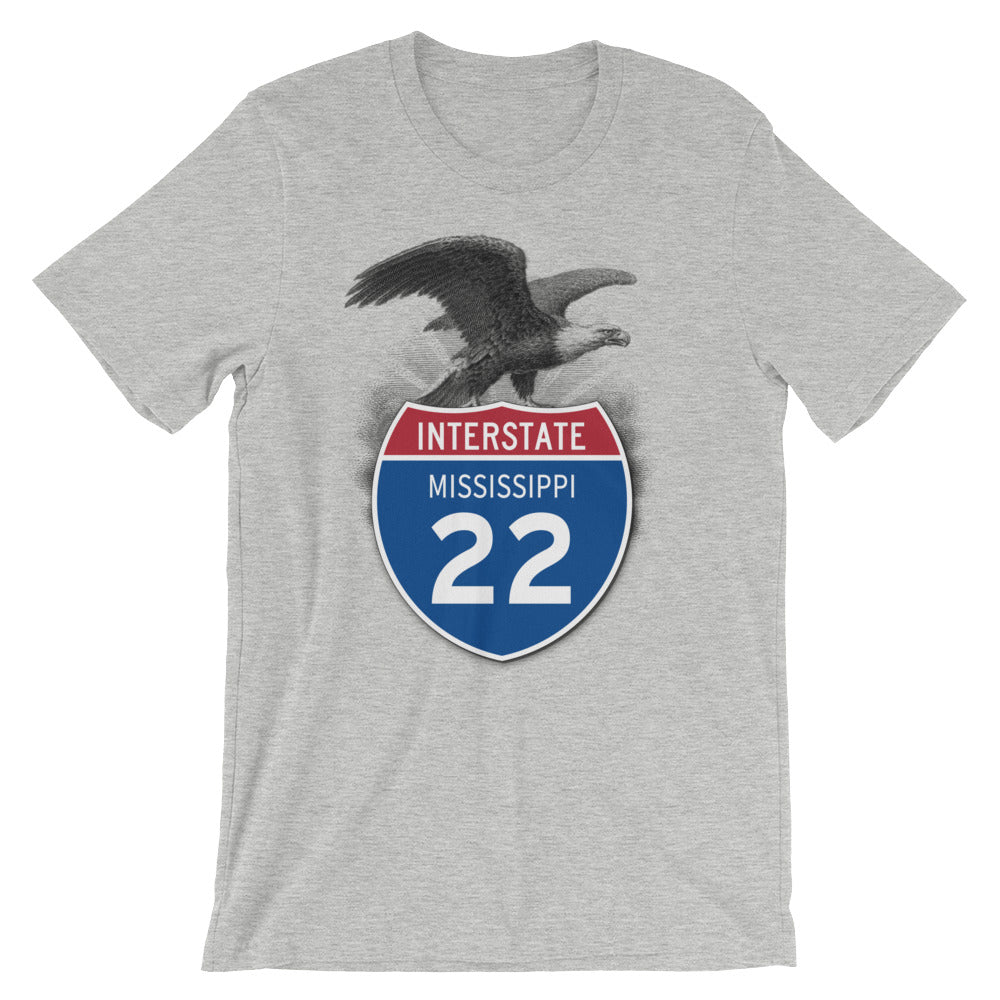 Mississippi MS I-22 Highway Interstate Shield Tshirt Tee - American Yesteryear
