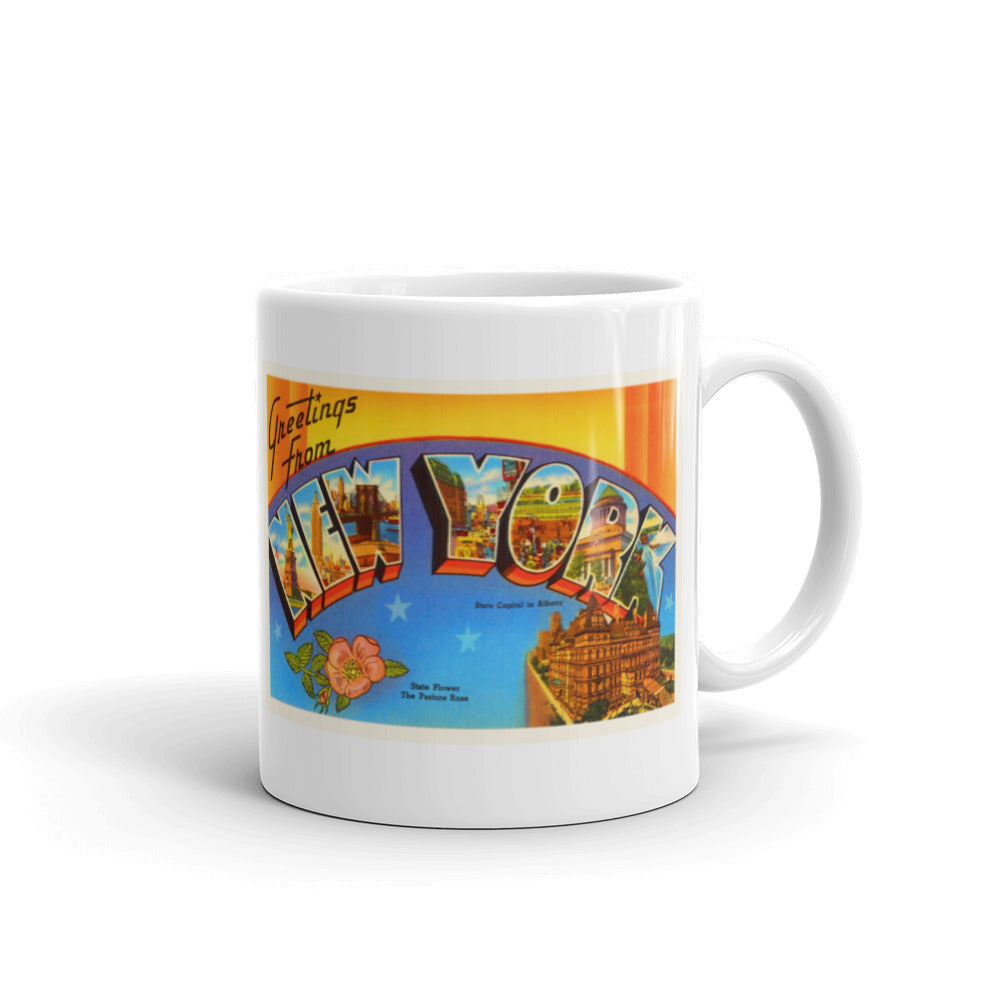 Mug – State of New York Greetings From NY Big Large Letter Postcard Retro Travel Gift Souvenir Coffee or Tea Cup - American Yesteryear