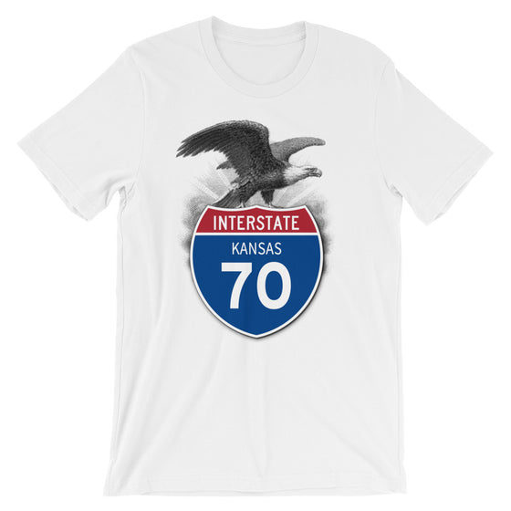 Kansas KS I-70 Highway Interstate Shield T-Shirt TShirt Tee - American Yesteryear