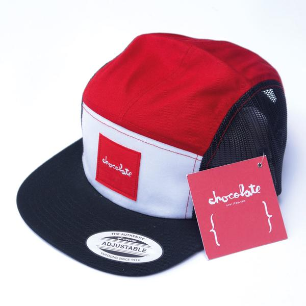 Chocolate - 5 Panel Hat | Red, White & Black