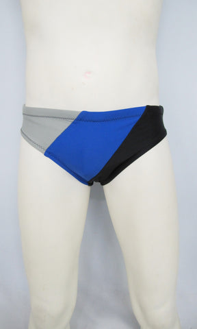 Silver, Blue, and Black Color Block Brief