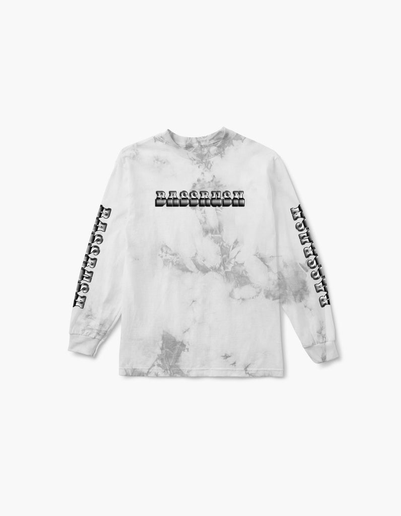 Bassrush Triple Threat Tie Dye L/S Tee White