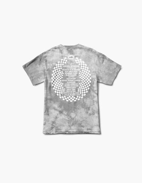 EDC 2020 Virtual Orlando Flamingo Tie Dye Line Up S/S Tee Grey