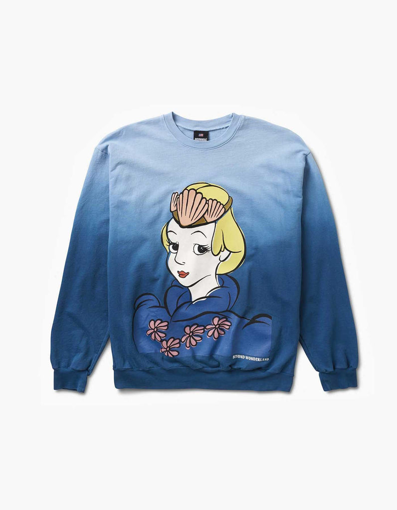 Alice Crew Neck Blue Dip Dye