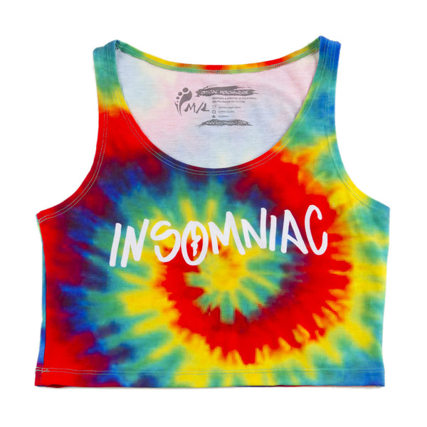 Insomniac Rainbow Tie Dye Womens Mini Crop Top
