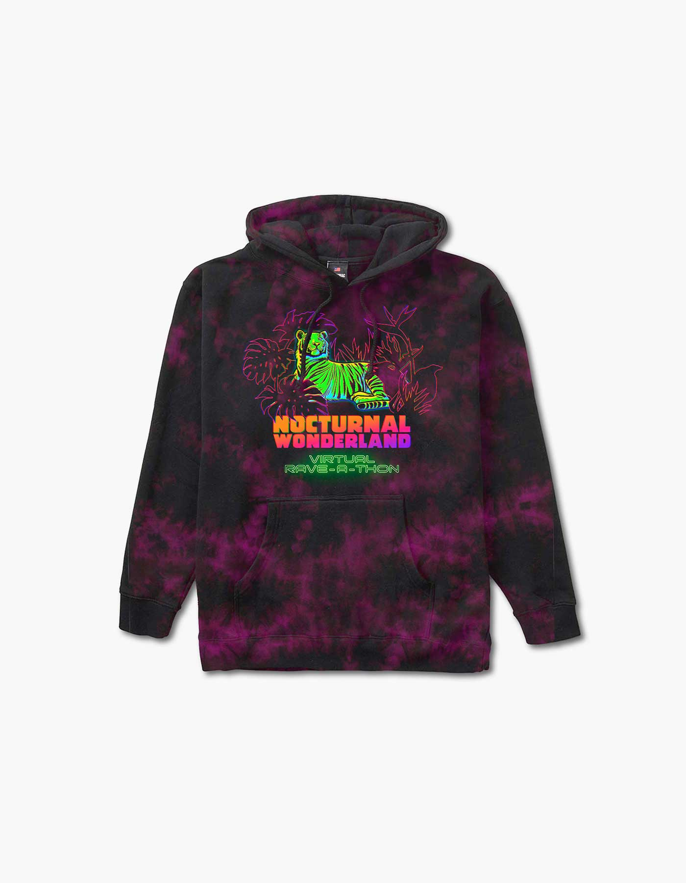 Nocturnal Tiger Line Up Tie Dye Hoodie