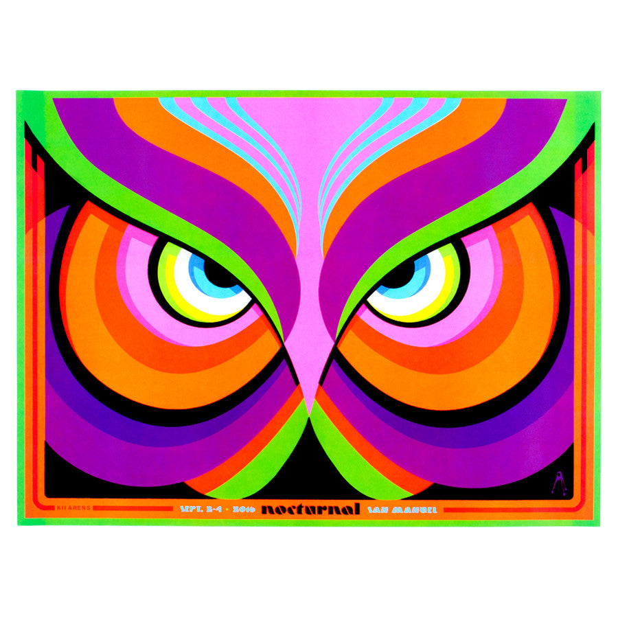 O  Nocturnal Wonderland 0Black Light Owl Poster