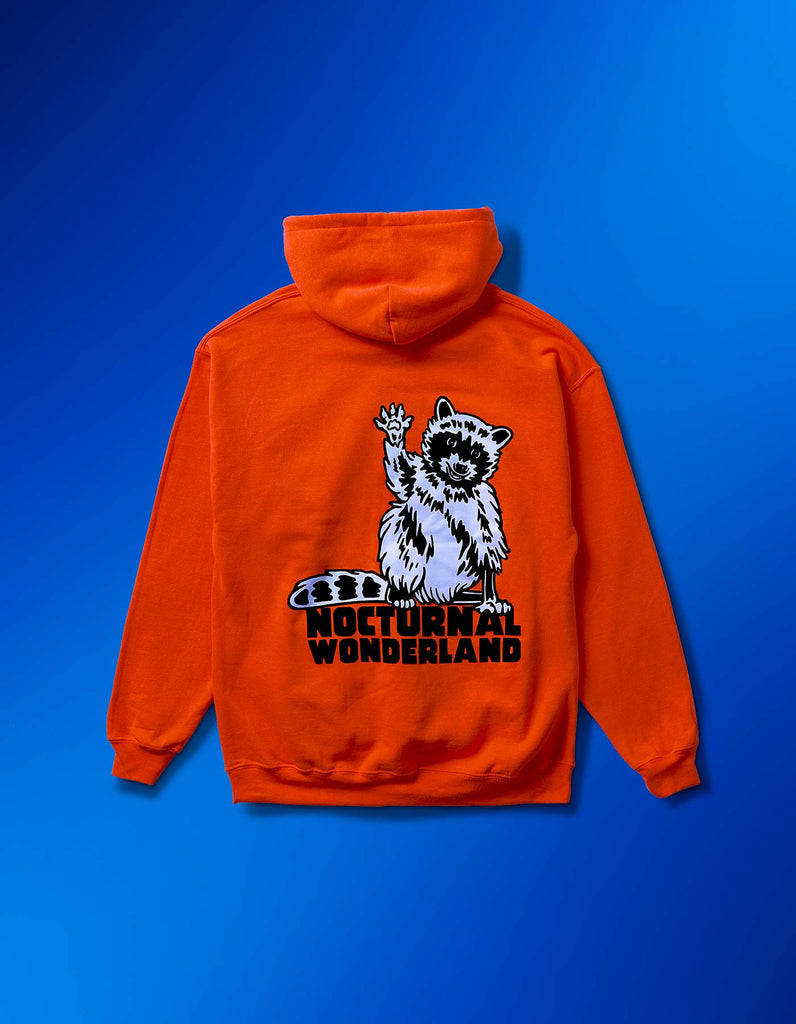 Nocturnal Neon Racoon Hoodie Orange