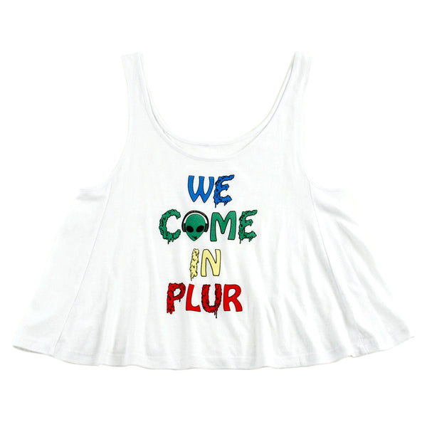 We Come In PLUR Womens Crop Top Tank