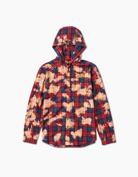 Tartan Plaid Hood Shirt Red