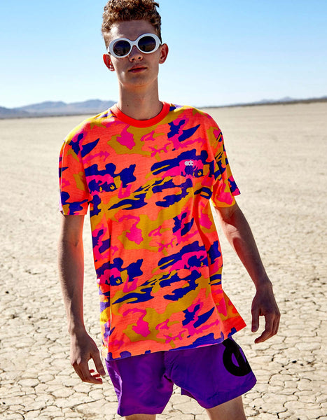 EDC Neon Camo T Shirt Purple