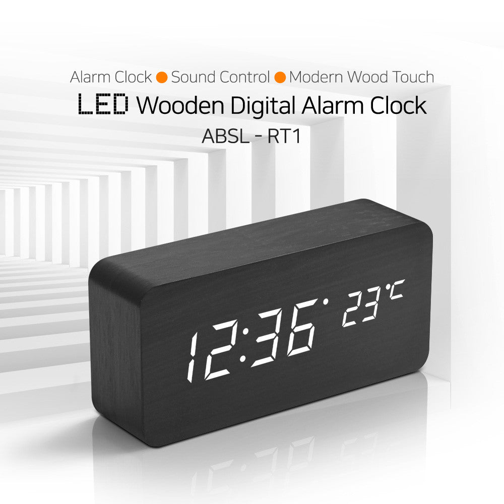LED Wooden Digital Alarm Clock