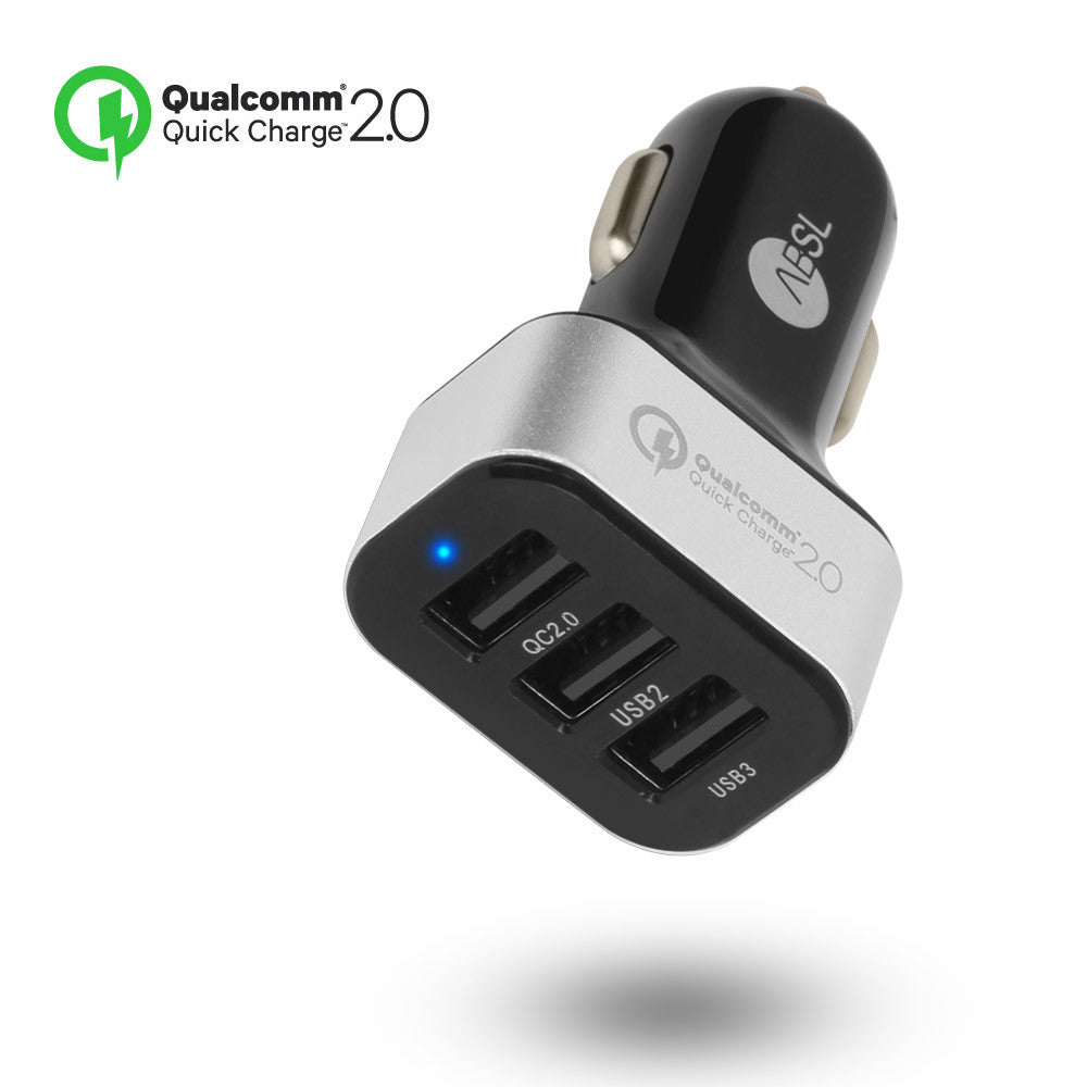 QCTRI Quick Charge 2.0 45W USB 3PortCar Charger