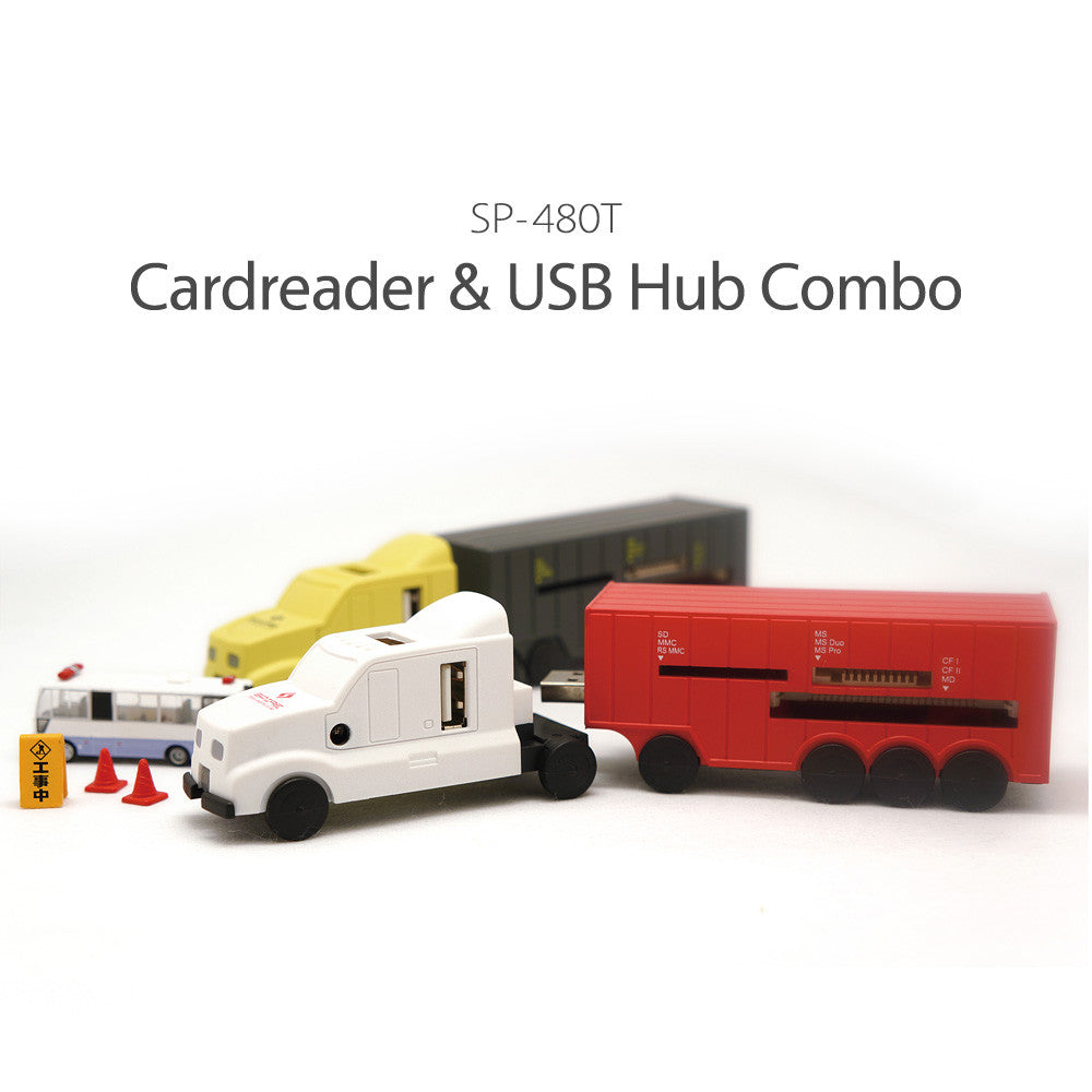 All in One Truck USB 2.0 + Memory Card Reader slot Hub Adapter