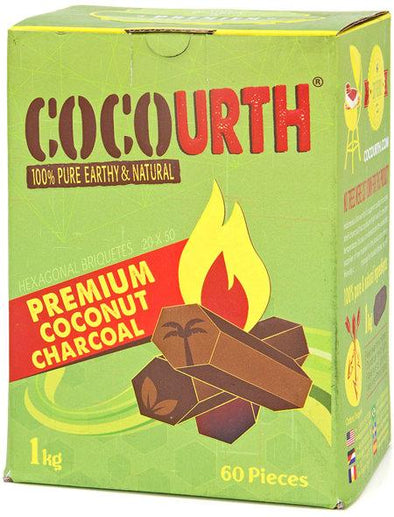 CocoUrth Hex Coconut Charcoal 1KG (60pcs) - TheHookah.com