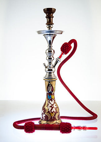 The Small Genie Hookah Red Gold Dust - TheHookah.com