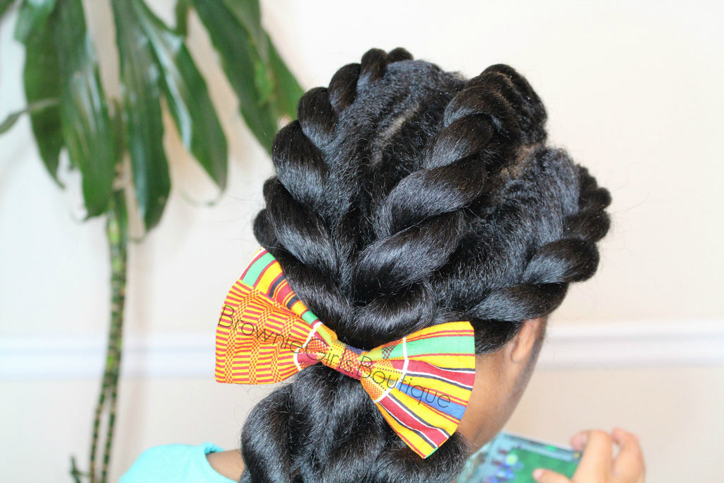 brownie bows, hair bow, african print, handmade, hair accessories