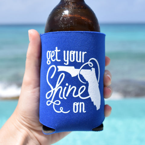 Get Your Shine On Florida Can Cooler in Blue