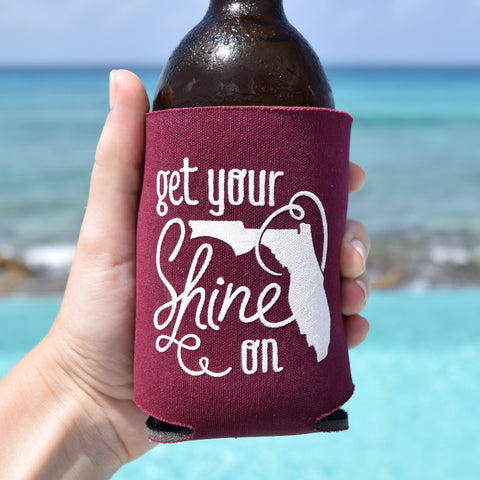 Get Your Shine On Florida Can Cooler in Maroon