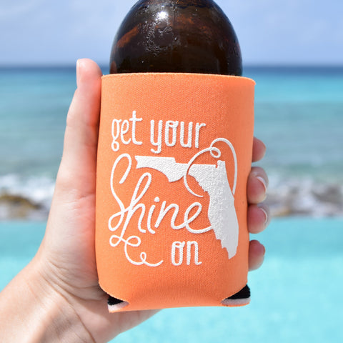 Get Your Shine On Florida Can Cooler in Orange