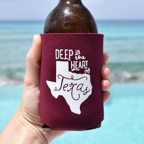 Deep in the Heart of Texas Can Cooler in Maroon