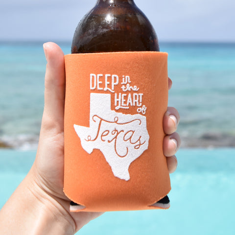 Deep in the Heart of Texas Can Cooler in Burnt Orange